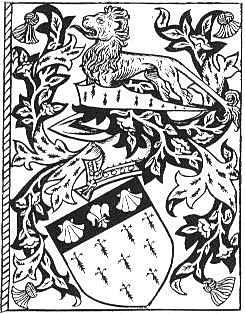 Mantling in an elaborate coat of arms.